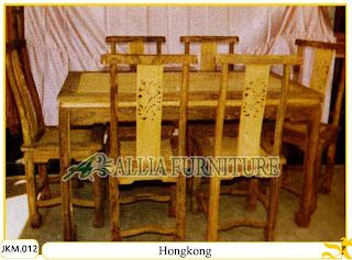 Kursi dan Meja Makan Ukiran Kayu Jati Hongkong