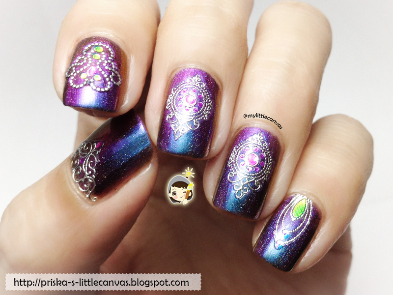 Nails by @mylittlecanvas: ILNP Peace with decorative nail stickers