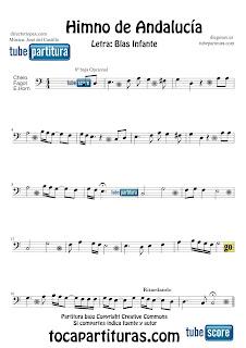 Partitura de El Himno de Andalucía para Violonchelo, Fagot y Corno Inglés Letra de Blas Infante y Música de José del Castillo Sheets Music Alto and Cello, Bassoon and English Horn Music Score Himno de Andalucía
