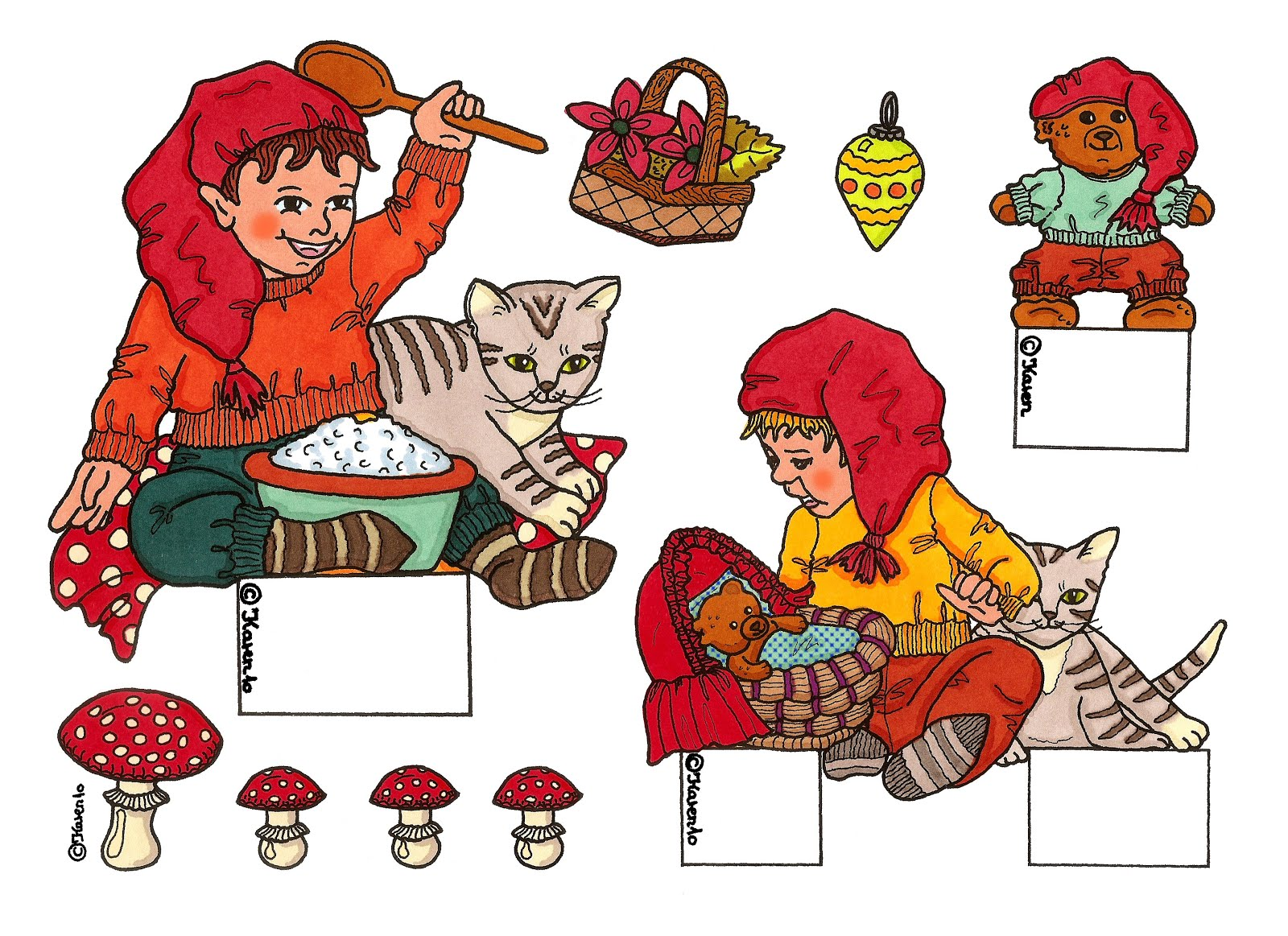 Gnomes sheet 7 Colourized in new Colours.