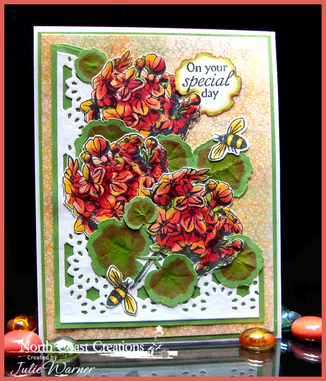 Stamps - North Coast Creations Floral Sentiments 6, ODBD Blooming Garden Paper Collection,  ODBD Custom Daisy Chain Background Die, ODBD Custom Zinnia & Leaves Die