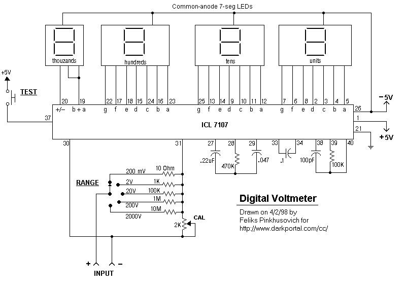 Simple Digital voltmeters using 7 segment
