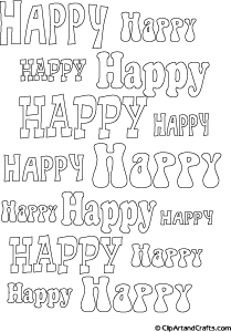 Printable bubble letters line art, HAPPY