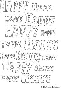 Printable bubble letters line art, HAPPY