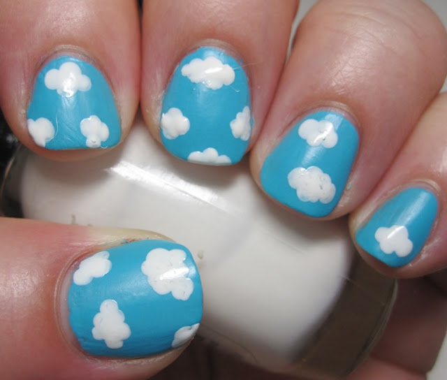 Illamasqua Serenity sky with Sally Hansen White Tip clouds