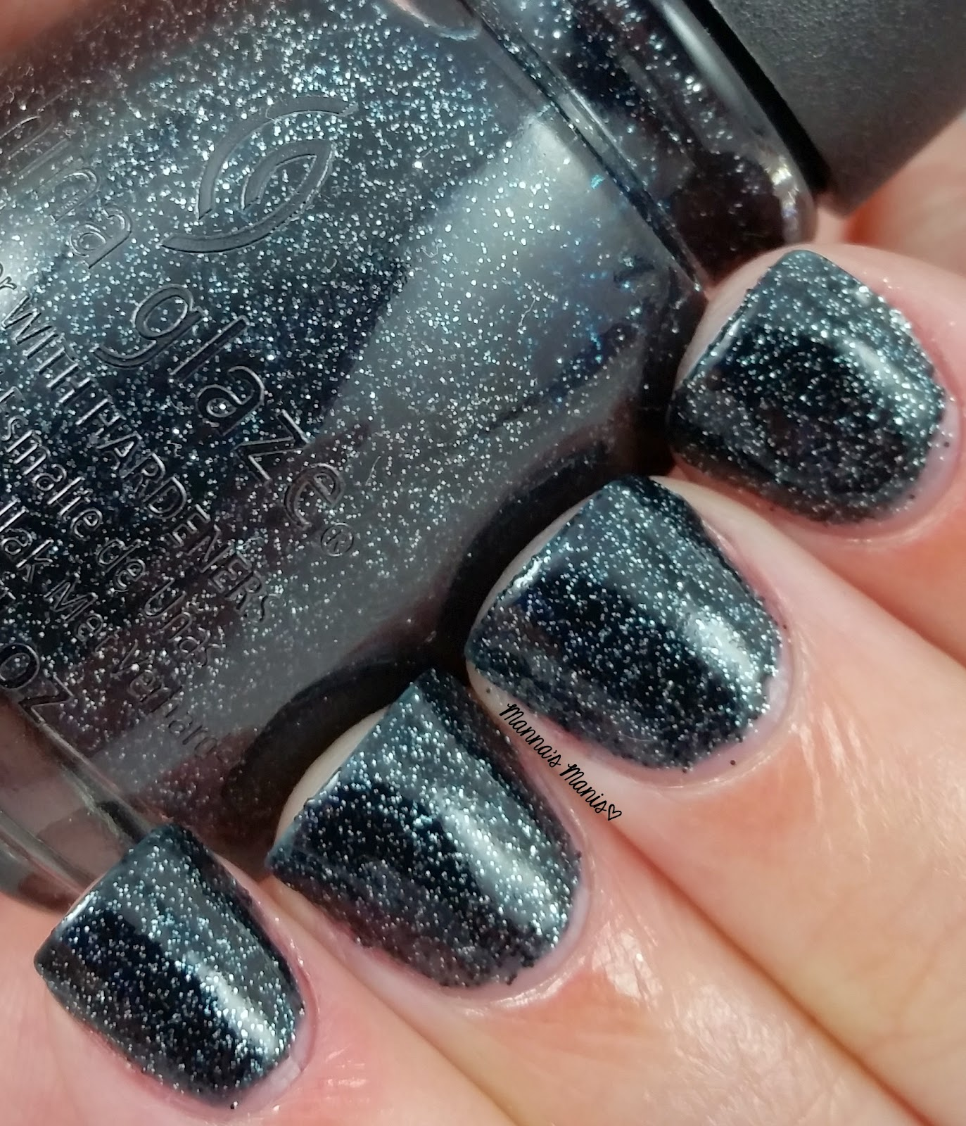 china glaze meet me under the stars, a silver and black glitter nail polish