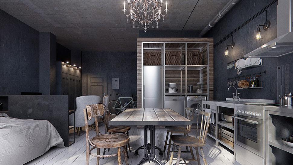 Un mini piso tipo loft de estilo industrial - Canela y Naranja ...