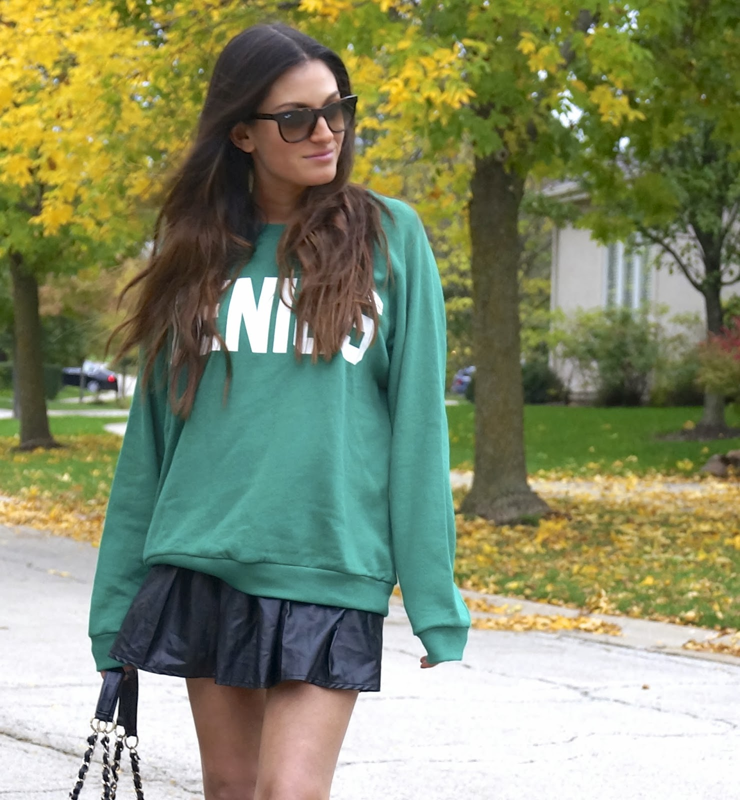 forever 21 genius sweatshirt, faux leather skirt