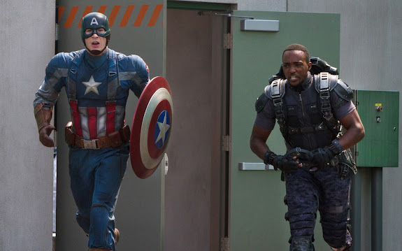 chris evans as steve rogers / captain america 2 and anthony mackie sam wilson as the falcon