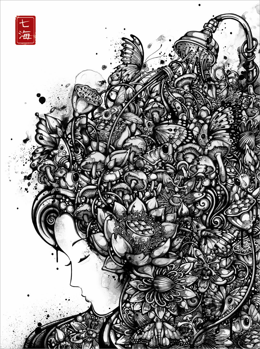 04-Flower-Shower-Nanami-Cowdroy-Splashes-of-Ink-Drawings-www-designstack-co