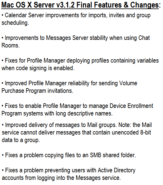 Mac OS X Server 3.1.2 Final Features and Changes