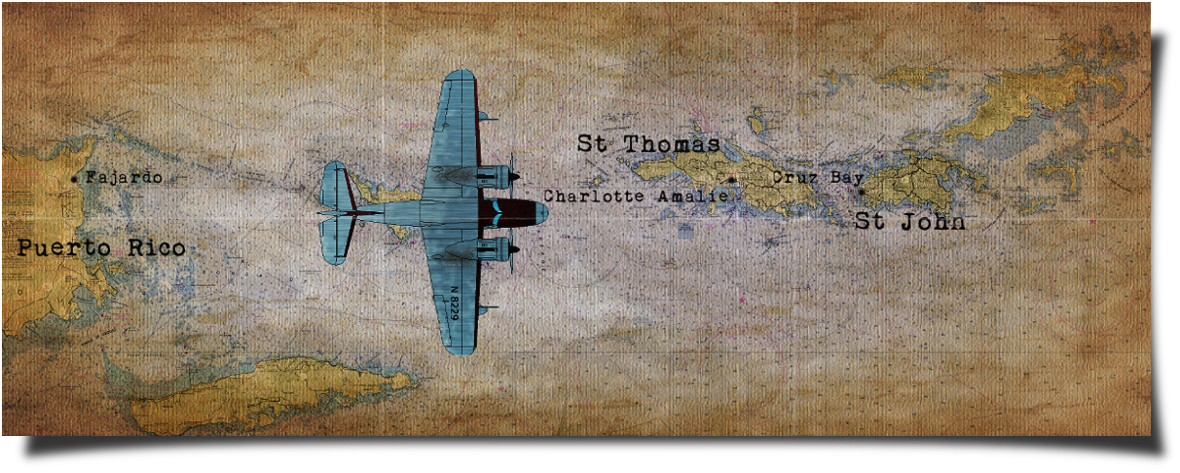 Antique map with Grumman G-21 Goose