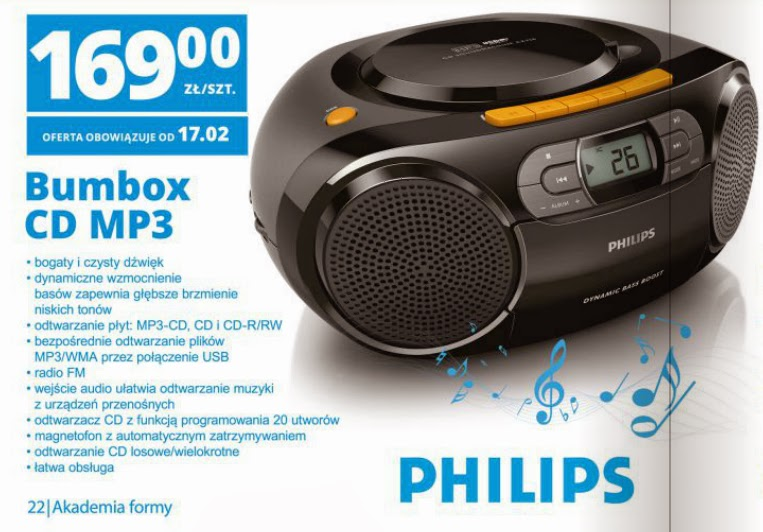 Bumbox CD MP3 Philips z Biedronki ulotka