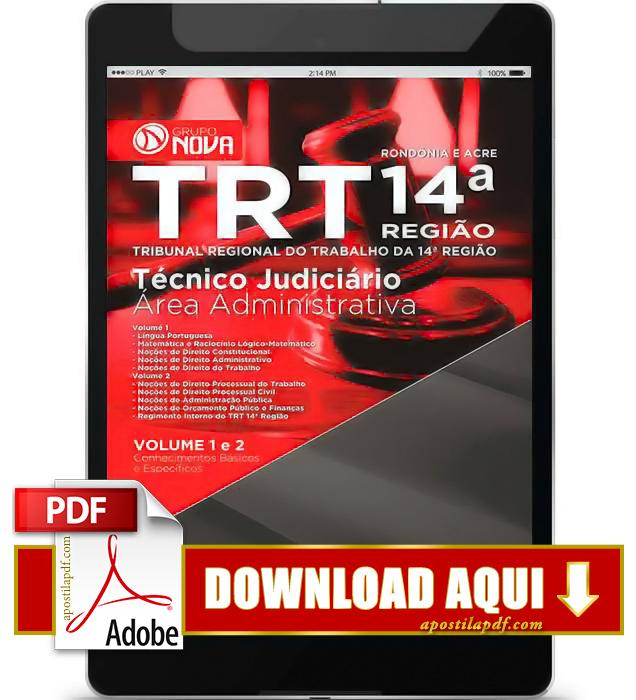 Apostila TRT 14ª Região 2015 PDF Download Técnico Judiciário