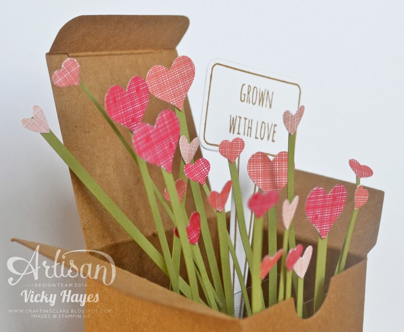 A card in a box containing a garden of hearts!