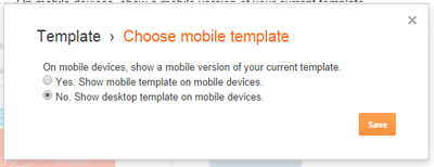 Desktop Template in settings
