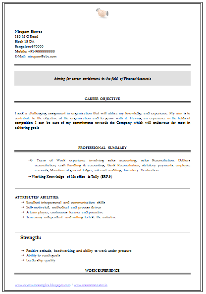 readymade resume for freshers