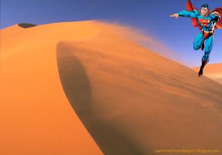 Superman Wallpaper of Superman Flying in the Sky at Desert Wind