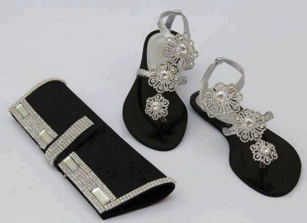 Black and silver sandals and purse for ladies