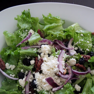 Blueberry and Feta Salad:  A green salad with sweet dried blueberries and salty feta cheese tossed in lemon oregano dressing.