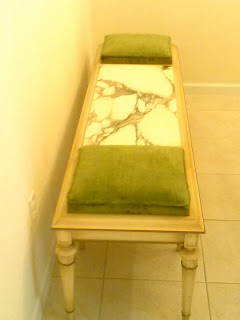 Vintage wooden bench with marble center