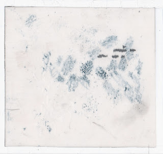 "Erin Curry abstract comic ""Tracks"" on mylar"