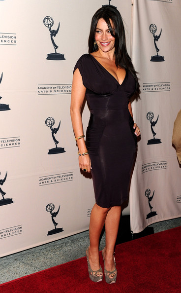 "Sofia Vergara in a deep purple cocktail dress with ruched detailing on the hip and a plunging neckline which allowed Sofia's curves do the talking and suede, peep-toe platform sandals at the Academy of Television Arts & Sciences' Evening with ""Modern Family"" at Leonard H. Goldenson Theatre on March 3, 2010 in North Hollywood, California."