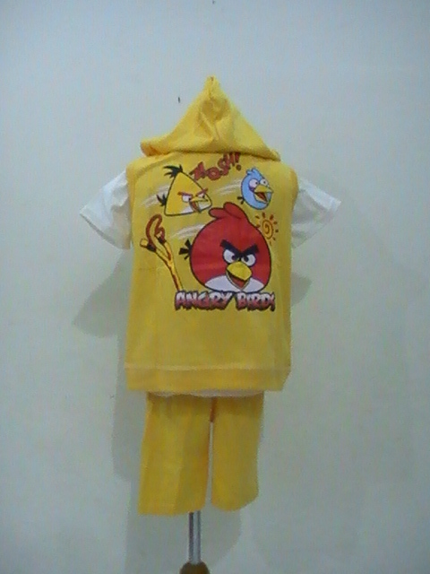 busana anak 3 in 1 motif angry birds