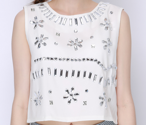 Crystal Beaded Crop Top
