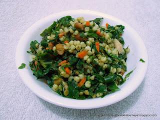 Jowar ( cholam ) Pasalai Sundal [ Sorghum Spinach Stir fry]
