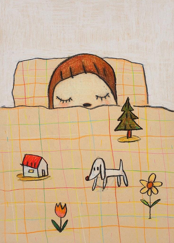 illustration by Yoshitomo Nara of a kid being asleep