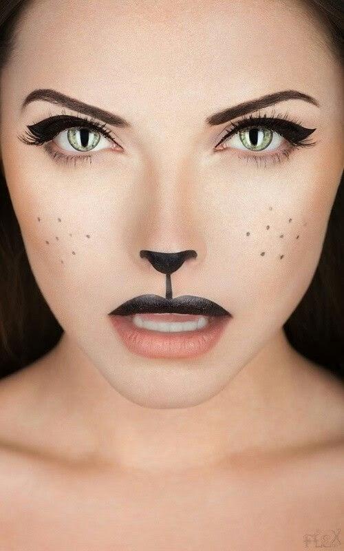Pintar la cara gato mujer