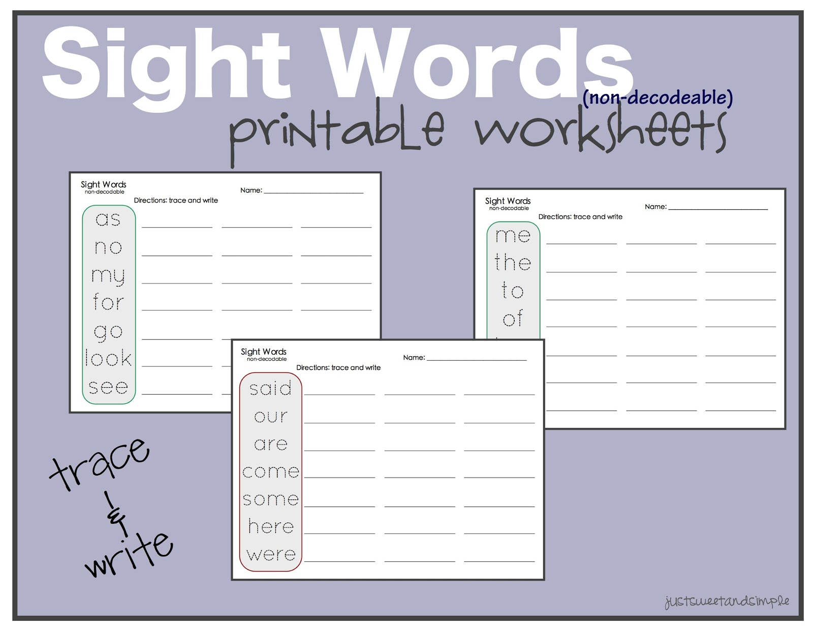 just Sweet and Simple Preschool Practice Sight Word Practice – Sight Words Tracing Worksheets for Kindergarten