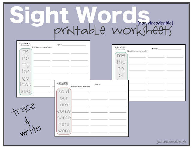 words Worksheets  and sight Practice Sweet Simple: worksheets Word Practice: Preschool writing Sight