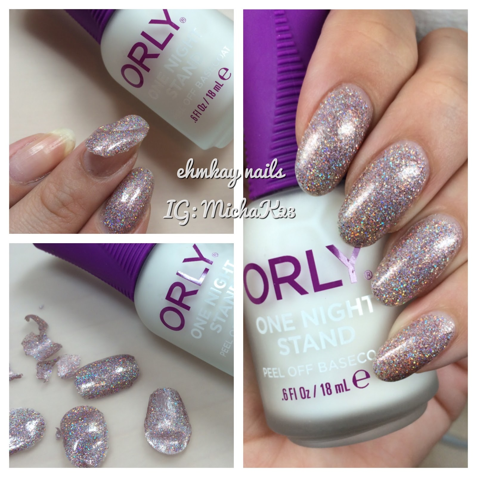 ehmkay nails: ORLY One Nail Stand Peel Off Base Coat Wear Test and ...