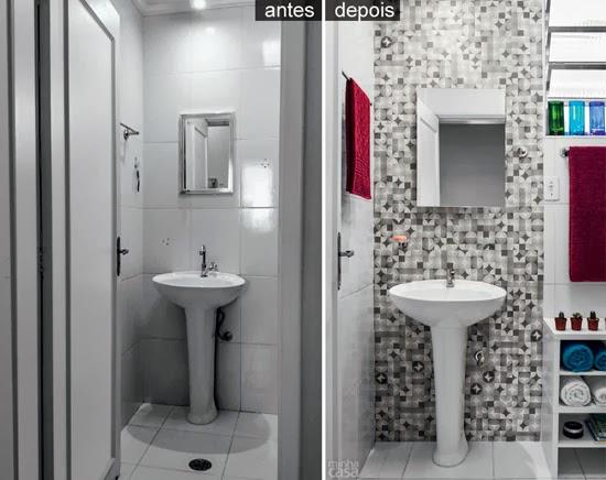 Banheiro pode  e deve ser decorado  Casa de Amados -> Decoracao De Banheiro Com Tecido Na Parede