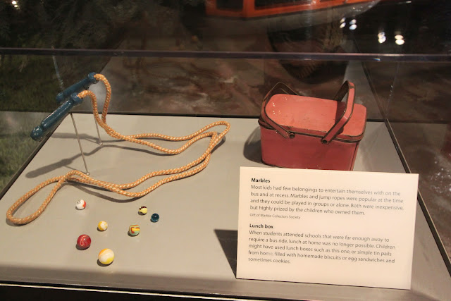 Popular children's games in the early days such as marbles and lunch box at National Museum of American History in Washington DC, USA