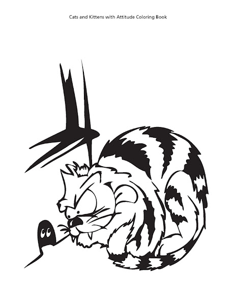 Cat with Attitude Coloring Pages