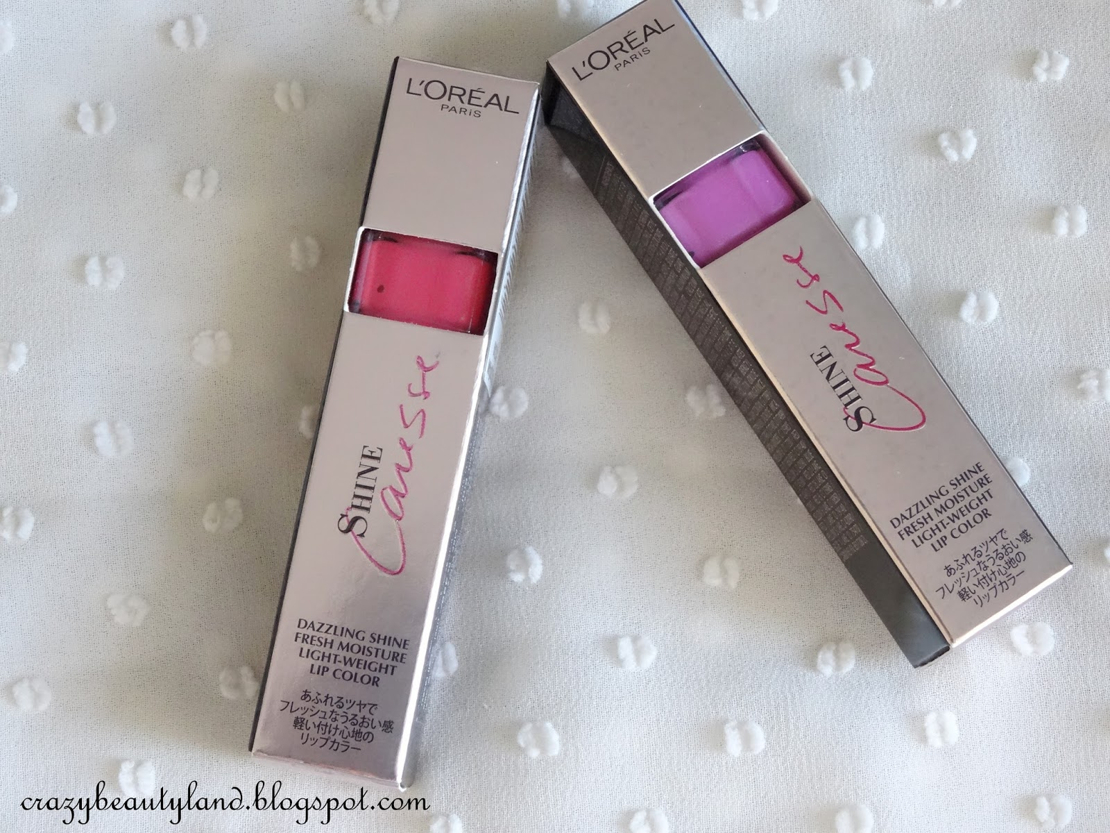 Review of L'Oreal Paris Shine Caresse Lip Color in the shade 603 Milady and 604 Bella. Dupe of YSL Glossy Stains