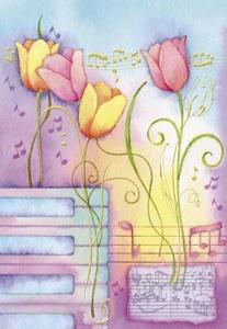Tulipanes y musica  Etiquetas para regalos de flores