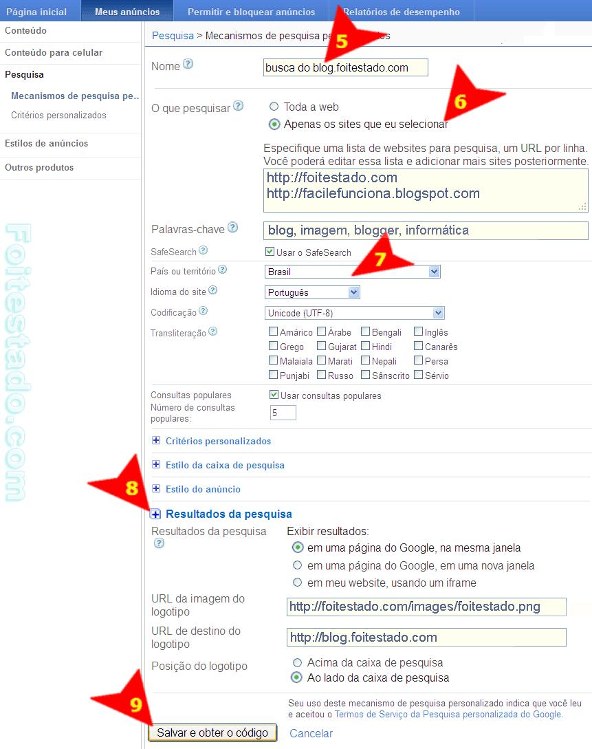 criando e configurar pesquisa do Google adsense para blogs e sites