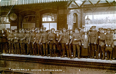 Photo:Some of the first troops prepare to leave from Letchworth station in 1914