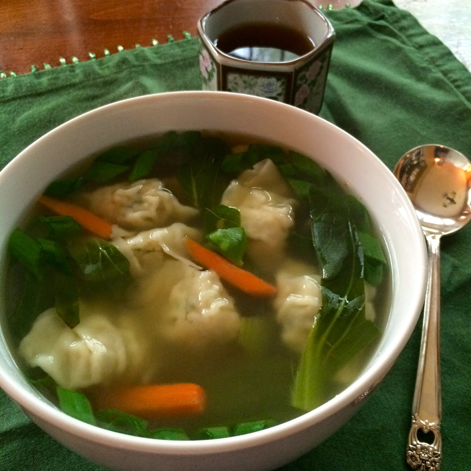 Food Impressions: Wonton Soup with Bok Choy and Fresh Ginger