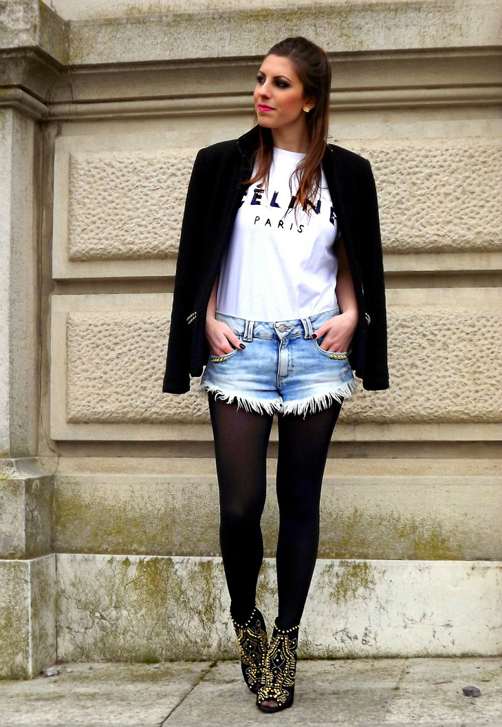 Zara Studded Jacket Celine Paris Tee Studded Fringed Shorts Zara Studded Ankle Boots Lace Open Toe Chanel Pearl Earrings Neon Pink Lipstick Mac Viva Glam Niki Lipstick Pupa Black Nailpolish