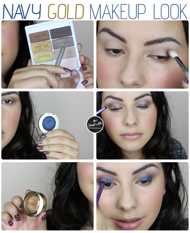 walgreens drugstore milani bella eyes eyeshadow navy blue gold makeup look summer tutorial
