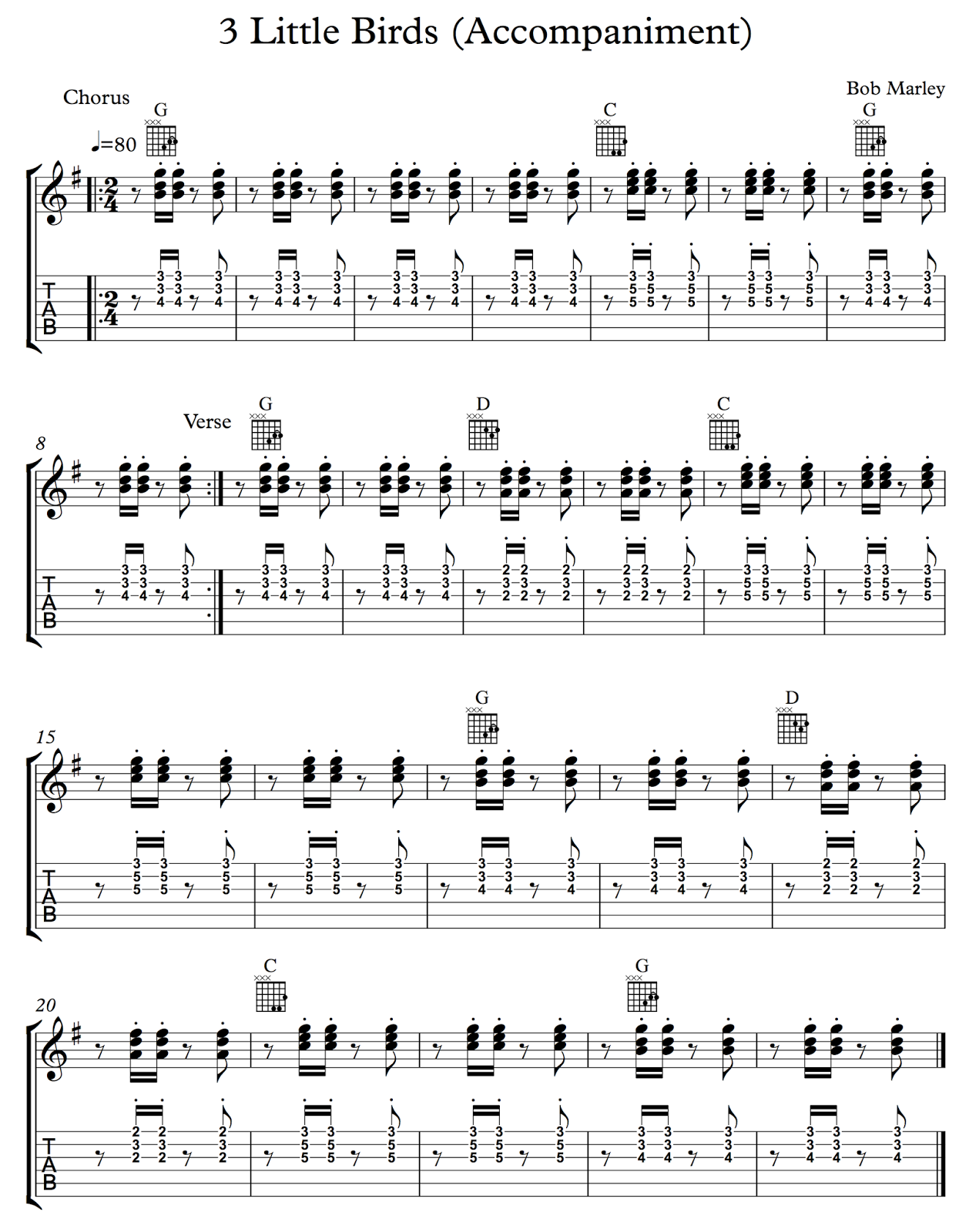 Ghs Guitar Partial Chords Reggae 3 Little Birds Somewhere Over