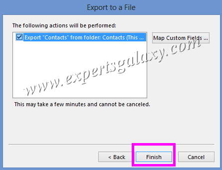 Finalize Outlook Contacts Export