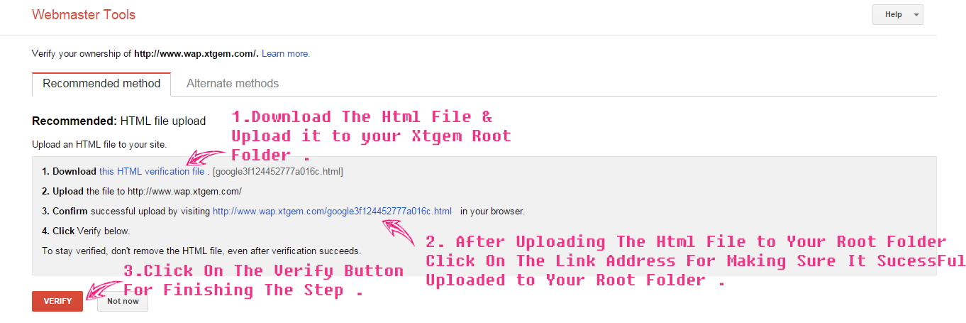 Adding Xtgem Wapsite To Google Webmaster Tools