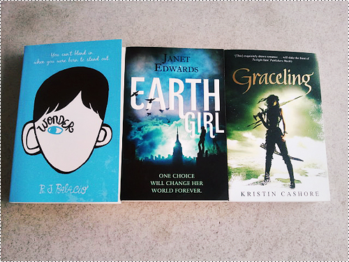 Wonder by R.J. Palacio Earth Girl by Janet Edwards Graceling by Kristin Cashore