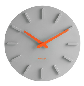 wall clock - gray with orange hands